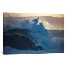 """East Urban Home Crashing Waves II Photographic Print on Wrapped Canvas Size: 40"""" H x 60"""" W x 1.5"""" D"""