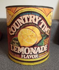 1970s snack foods | 1970's General Foods Country Time Lemonade 15 qt Can