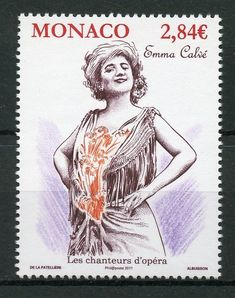 Emma Calvé as one of the most outstanding French operatic sopranos. One special stamp introduced by Monaco Post – World Stamp News Monaco, Buy Music, Metropolitan Opera, Opera Singers, Belle Epoque, Calves, Stamps, Sensual, White Trim