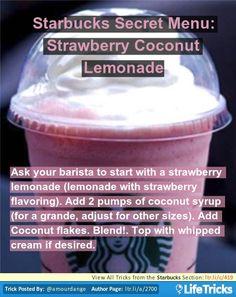 Starbucks Secret Menu: Strawberry Coconut Lemonade