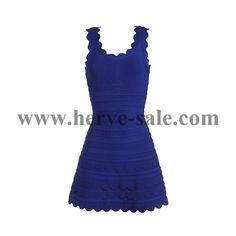 Herve Leger Deep Blue U-neck Lotus Edges Sexy Bandage Dress H069LDB