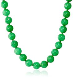 14k Yellow Gold 10mm Green Jade Strand Necklace, 18' -- Check this awesome product by going to the link at the image.