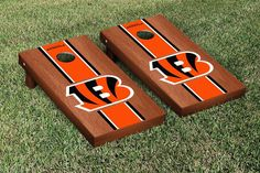 Cincinnati Bengals NFL Football Cornhole Game Set Rosewood Stained Stripe Version 2