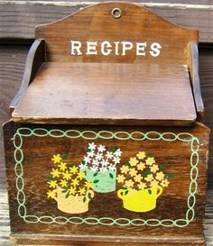 Look what I found on @eBay! http://r.ebay.com/UoLGcj Vintage WOODEN RECIPES BOX Flip Up COVER Flower Design 1960s WALL or COUNTERTOP