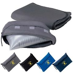 "Travel Blanket 45261 - Great for travel or camping, this microfleece travel blanket comes complete with carrying pouch and inflatable pillow. Carrying pouch contains inflatable pillow. Hook-and-loop closure. Includes embroidery on pouch only. Packed size (approx): 13"" w x 9"" h x 4"" d. Pillow (inflated): 11 3/4"" w x 7 1/8"" l x 5 1/2"" d. #propelpromo"