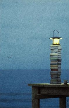 Works on so many levels... There should be a street light like this outside of every library.
