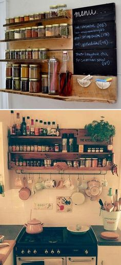 Build a spice rack with wooden pallets.