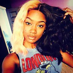 #hairinspiration /black wig.❤️❤️ Half blond Half black wig . ✅✅Double tag on side u like more.✅✅