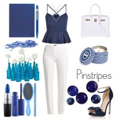 """""""Blue'd Pinstripes"""" by bebe-gawddess ❤ liked on Polyvore featuring New Look, Basler, Little Mistress, Hermès, Amanda Rose Collection, MAC Cosmetics, Too Faced Cosmetics, Cultural Intrigue and Capri Blue"""