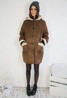 80's Brown & Cream Faux Sheepskin Duffle Coat