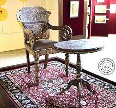 "Beautiful Table Chair of Lahore Darbar use by Sandhawlia Jat ruler Mahraja Ranjit singh during khalsa raj . Chair decorate with ""ivory"" elephant teeth bone work ( Hathi dant ) Now days in lahore muesum , Table And Chairs, Dining Chairs, Maharaja Ranjit Singh, Ivory Elephant, Ruler, Dancers, Teeth, Furniture, Beautiful"