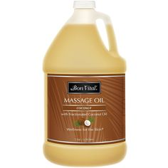 Bon Vital Coconut Massage Oil Made with 100% Pure Fractionated Coconut Oil to Repair Dry Skin, Used by Massage Therapists and At-Home Use for Therapeutic Massages and Relaxation, 1 Gallon Bottle