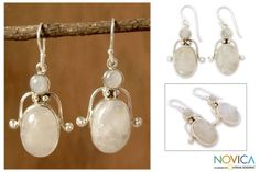 Fair Trade Jewelry Sterling Silver and Moonstone Earrings - Goddess | NOVICA