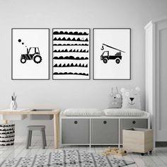 Black and white truck nursery wall art, construction print, transportation art Car Wall Art, Nursery Wall Art, Nursery Decor, Bedroom Decor, Bedroom Boys, Nursery Prints, Trendy Bedroom, Boy Room, Kids Room