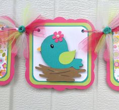 Bird baby shower, spring baby shower, hot pink, teal, green, etsy, handmade, nancysbannerboutique, it's a girl banner, bird banner