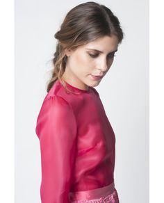 Blusa de mujer David Christian  de organza rosa Organza, Moda Online, Athletic, Zip, Jackets, David, Fashion, Pink, Little Girl Clothing