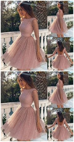 Pink Sequin Glitter Sparkly Grenadine Backless Long Sleeve Elegant Bridesmaid Prom Mini Dress · Sweet Lady · Online Store Powered by Storenvy Mini Prom Dresses, Hoco Dresses, Prom Dresses With Sleeves, Lace Evening Dresses, Formal Dresses, Sexy Dresses, Pink Dresses, Summer Dresses, Wedding Dresses