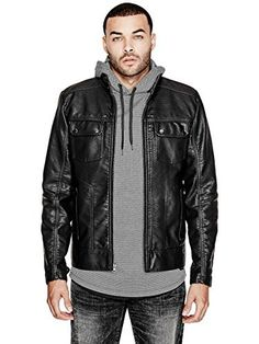 Mens Zip up Box Leather Jacket Gents Classic Plain Casual Semi Fitted Coat Black