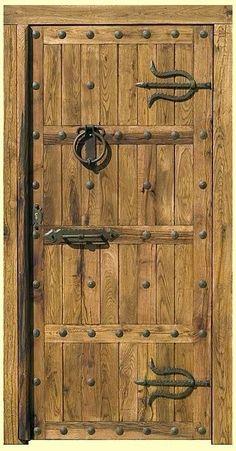 Cool Doors, Unique Doors, Wooden Gates, Wooden Doors, Porta Diy, Porch Timber, Medieval Door, Jardin Decor, Oak Front Door