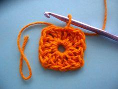 Adjacent double crochet tutorial for square shape