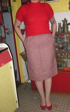 vintage wool red white navy blue check check houndstooth skirt 1960 60s mod by dieyoungstaypretty