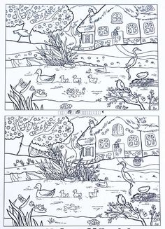 Find the Differences - Spring Pond, etsi erot Super Coloring Pages, Colouring Pages, Coloring For Kids, Spot The Difference Printable, Find The Difference Pictures, Find The Differences Games, Puzzle Photo, Hidden Pictures Printables, Hidden Picture Puzzles