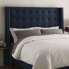 Top Ten: Best Upholstered Fabric Headboards — Apartment Therapy Annual Guide 2014 - http://www.wayfair.com/Skyline-Furniture-Linen-Nail-Button-Tufted-Upholstered-Headboard-53X-SKY2715.html
