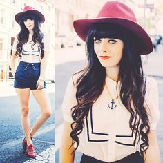 Rachel-Marie Iwanyszyn - Otte Nyc Hat, Topshop Shorts, Modern Vice Shoes, Amrita Singh Anchor Necklace, Amrita Singh Cuff - TIED TO THE BOATS.