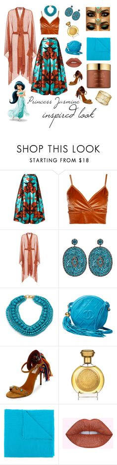 """Princess Jasmine inspired look"" by hannah-brondz ❤ liked on Polyvore featuring Delpozo, Boohoo, Balmain, Nush, Kenneth Jay Lane, Chanel, Valentino, Boadicea the Victorious, Faliero Sarti and Estée Lauder"