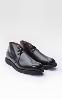 Red Wing Boots 9196D Chukka Black Chaparral.  In the early 1960's, policemen still walked their beats and the postman walked his mail route. Red Wing responded to this, because they needed comfortable and sturdy footwear for the eight hours spent on their feet.