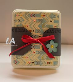 LA Stamper, Stampin' Up!:  Flashback DSP covered mini first aid kit for downline at convention