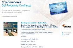 15% de descuento en Ozone, bowling San Vicente, con la Tarjeta Confianza. http://www.hospitalmedimar.com/confianza/