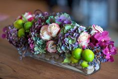 Perfect floral arrangement for a dinner party...low enough on the dining table to 'talk' over...and still gorgeous!