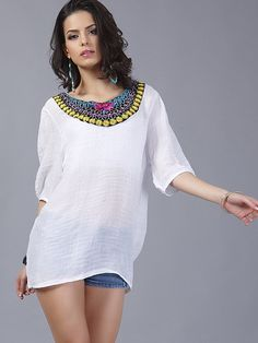Pearls Beaded Embroidery Scoop Neck Loose T-Shirts - OneBling