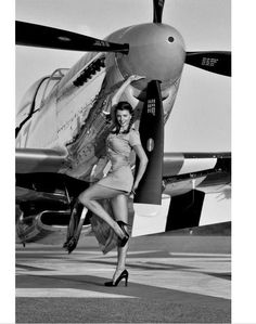 $7.19 - Black And White Airplane Pin Up Girl Vintage Retro Decorative Poster Home Decor #ebay #Home & Garden
