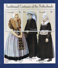 Buttons & Fabrics: Traditional Costumes : Dutch Costumes on Postage Stamps Axel, Noord-Brabant en Volendam Historical Costume, Historical Clothing, Love Stamps, Folk Costume, My Heritage, Traditional Dresses, Postage Stamps, Netherlands, Dutch