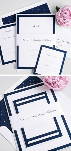Sophisticated Navy Blue Wedding Invitations with a Modern Monogram