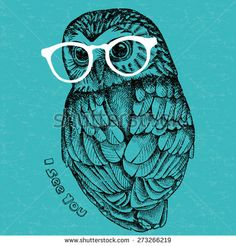 Image owl with glasses. Vector illustration. - stock vector
