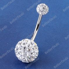 14G Clear Czech CZ Crystal Belly Navel Ring Stud Barbell Stainless Steel