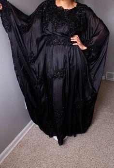 Free ShippingBlack Chiffon Kaftan/Long Dress/ Black by SusVintage