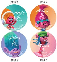 Personalized Troll Birthday Party Stickers For Goody Gift Bag Lolipoop Hershey Kisses Bags