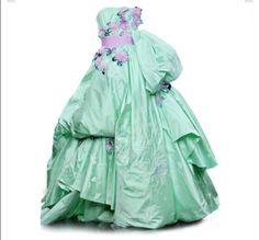 Sea green ball gown
