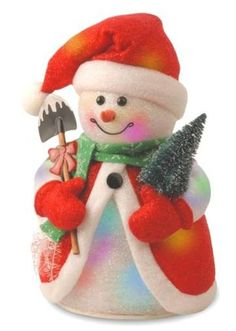 """National Tree MZCSM-300-14 14"""" Cotton Red Snowman with Tree and 11 Color Changing Indoor LED Lights w Battery Box"""