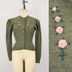vintage embroidered puff sleeve sweater / Austrian green cardigan.