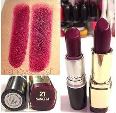 Lipstick dupe: Mac lipstick in 'Rebel' on the left and Milani lipstick in 'Sangria' on the right. I love my Sangria! Milani Color Statement Lipstick, Mac Lipstick Dupes, Lipstick Guide, Eyeshadow Dupes, Gloss Eyeshadow, Eyeshadow Palette, Sangria, Berry Lipstick, Fall Lipstick