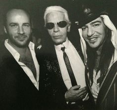 I died when I came across this picture!! Tom Ford, Karl Lagerfeld, and John Galliano