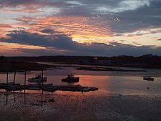 Pôr Do Sol, Maine, Oceano, Barcos, Porto