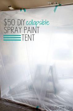 $50 DIY Collapsible Spray Paint Tent via MakelyHome.com