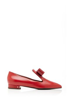 Gertrude Bow-Detail Leather Loafers in Red by Laurence Dacade Now Available on Moda Operandi
