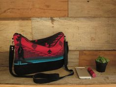 Red Aztec Convertible Purse with Leather by MercyGreyDesignCo